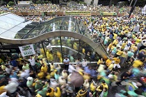 Demonstrators attend a protest against Brazil's President Dilma Rousseff at Paulista avenue in Sao Paulo