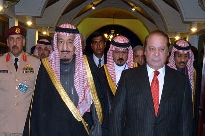 """A handout photo released by the Press Information Department (PID) shows Pakistani Prime Minister Muhammad Nawaz Sharif (R) welcoming Saudi Crown Prince Salman bin Abdul Aziz Al- Saud upon the latter's arrival at the Prime Minister's House in Islamabad on February 17, 2014. The Crown Prince of Saudi Arabia, Prince Salman bin Abdulaziz Al-Saud is on a three-day visit to Pakistan to further cement ties between the two countries and discuss regional situation.   AFP PHOTO/HO /PRESS INFORMATION DEPARTMENT  === RESTRICTED TO EDITORIAL USE - MANDATORY CREDIT """"AFP PHOTO / HO / PRESS INFORMATION DEPARTMENT - NO MARKETING NO ADVERTISING CAMPAIGNS - DISTRIBUTED AS A SERVICE TO CLIENTS ==="""