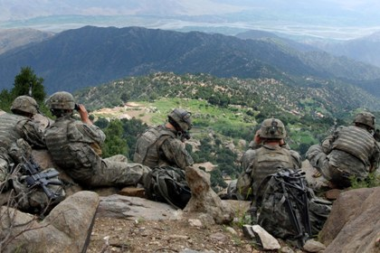 070822-A-6849A-667 -- Scouts from 2nd Battalion, 503rd Infantry Regiment (Airborne), pull overwatch during Operation Destined Strike while 2nd Platoon, Able Company searches a village below the Chowkay Valley in Kunar Province, Afghanistan Aug. 22.