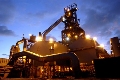 The No. 5 blast furnace at Corus' Port Talbot Works, South Wales. The furnace was rebuilt in eight months in 2002 at a cost of £75m. It produces around 1.5 million tonnes of liquid iron a year and is designed to operate continuously for a minimum of 15 years. Credit:NewsCast www.newscast.co.uk +44 (0) 20 7608 1000