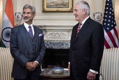 India's Foreign Secretary Subrahmanyam Jaishankar (L) and US Secretary of State Rex W. Tillerson