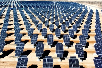 On 140 acres of unused land on Nellis Air Force Base, Nev., 70,000 solar panels are part of a solar photovoltaic array that will generate 15 megawatts of solar power for the base.  (U.S. Air Force photo/Airman 1st Class Nadine Y. Barclay)