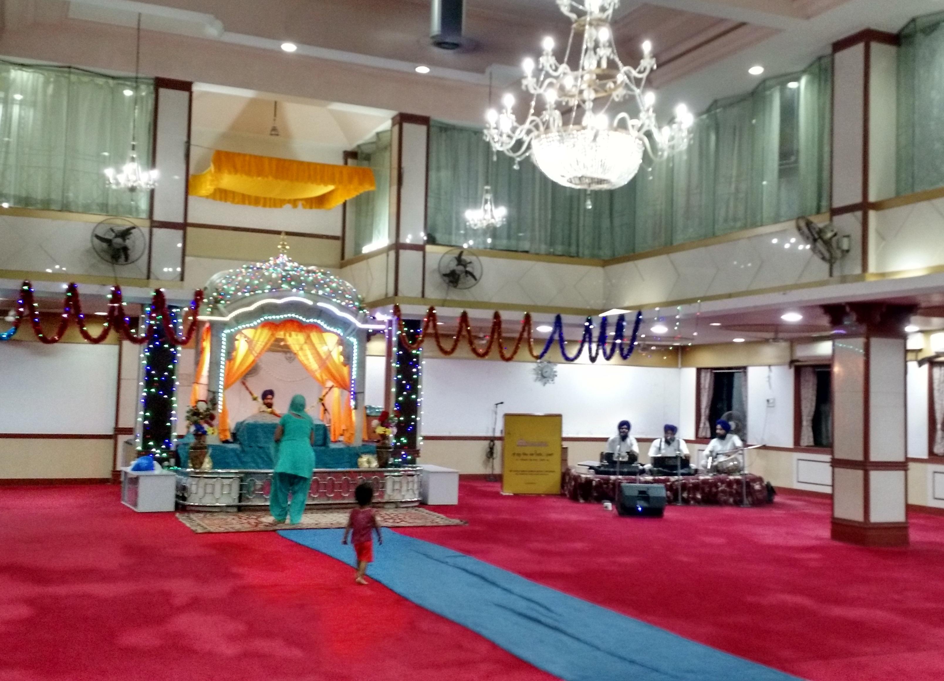 An interior view of the Sri Guru Singh Sabha's Dadar Gurdwara