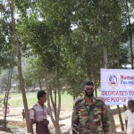 Security forces at the entry point of Kutupalong refugee camp