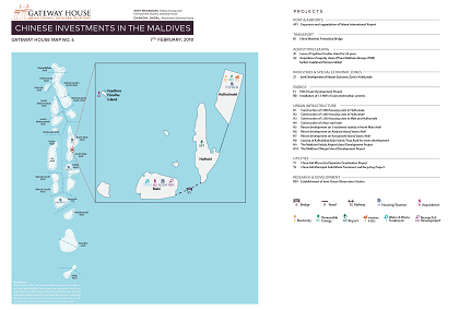 Gateway House's research map on Chinese investments in the Maldives. Researched by Amit Bhandari and Chandni Jindal.