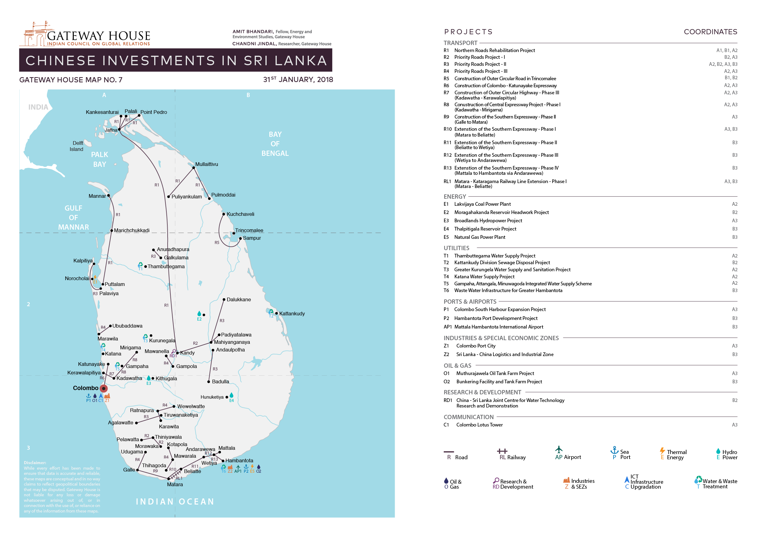 Gateway House's research map on Chinese investments in Sri Lanka. Researched by Amit Bhandari and Chandni Jindal.
