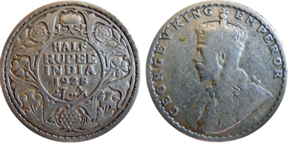 The two faces of a 1928 ½ Rupee Silver Coin in the King George V Series (Provenance Bombay Mint)