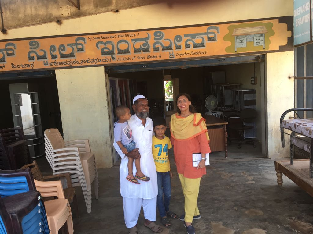 The ideal citizen: Sadia Pasha of Nanjangud village, Mysuru district, who runs a furniture shop, keeps the Swachh Bharat mandate, pays GST, educates his children and grandchildren in English, Kannada and Urdu, and is intelligent about local politics.