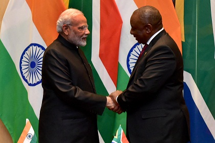 President Cyril Ramaphosa and Prime Minister Modi of the Republic of India having a bilateral meeting at the Sandton International Convention Centre during the 10th BRICS Business Forum.26/07/2018. Kopano Tlape GCIS