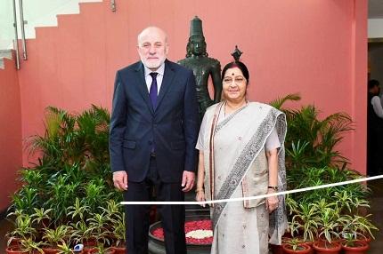 Swaraj Meets Afghanistan's High Peace Council Secretary