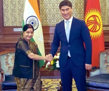 Swaraj meets Kyrgyzstan counterpart