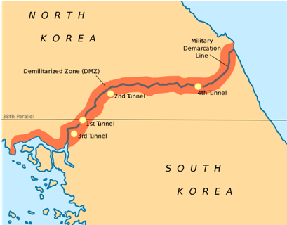 Photo 1: Map of the DMZ, showing the infiltration tunnels and the Military Demarcation Line (Wikipedia)