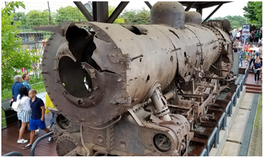 Photo 3: The damaged locomotive, used in the Korean War (Photo by Purvaja Modak)