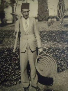 Faredoon Nooreyezdan, working in the gardens of the Shrine of the Bab on Mount Carmel, Haifa, in 1936. Photo credit: Sheriar Nooreyezdan